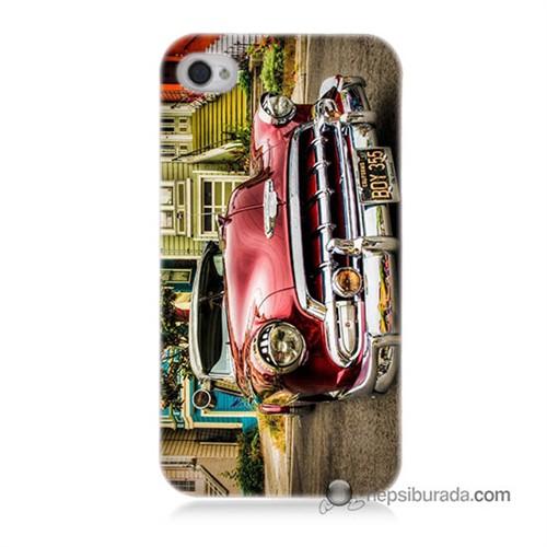 Teknomeg İphone 4 Kapak Kılıf Klasik Araba Baskılı Silikon