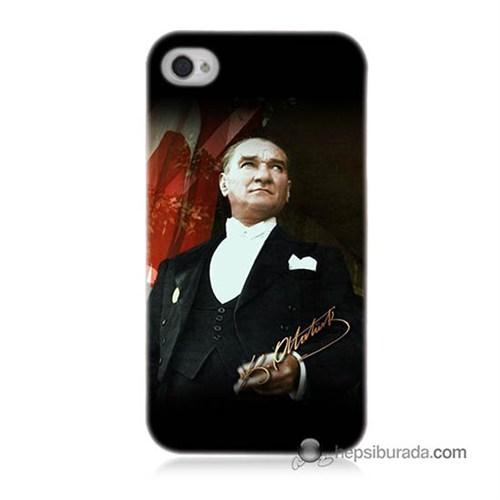 Teknomeg İphone 4 Kapak Kılıf M.K.Atatürk Baskılı Silikon