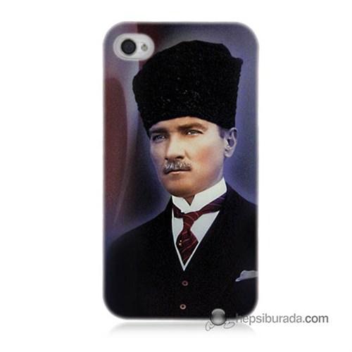 Teknomeg İphone 4 Kılıf Kapak Mustafa Kemal Atatürk Baskılı Silikon