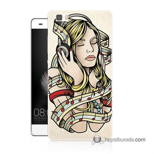 Teknomeg Huawei Ascend P8 Lite Kapak Kılıf Müzik Aşkı Baskılı Silikon