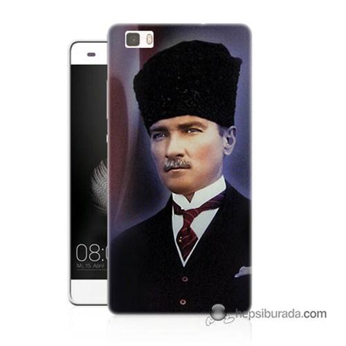 Teknomeg Huawei Ascend P8 Lite Kılıf Kapak Mustafa Kemal Atatürk Baskılı Silikon