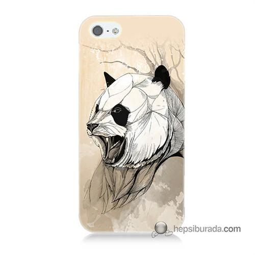Teknomeg İphone 5S Kapak Kılıf Kavgacı Panda Baskılı Silikon