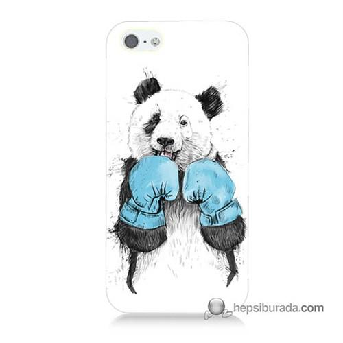 Teknomeg İphone 5S Kılıf Kapak Boksör Panda Baskılı Silikon