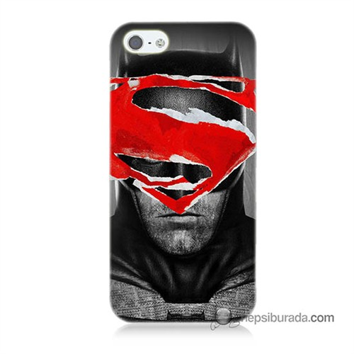 Teknomeg İphone 5S Kapak Kılıf Batman Vs Superman Baskılı Silikon