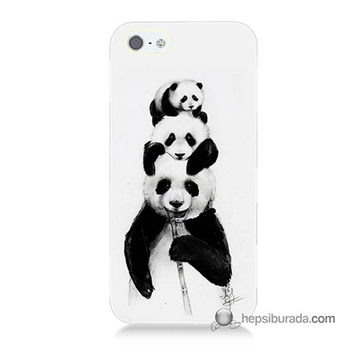 Teknomeg İphone Se Kapak Kılıf Panda Ailesi Baskılı Silikon