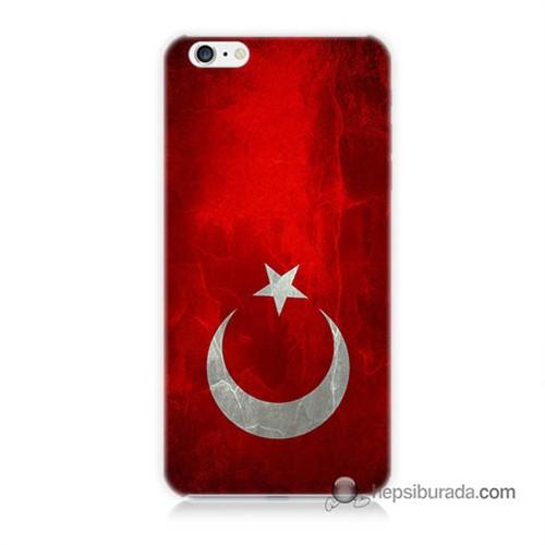 Teknomeg İphone 6 Plus Kılıf Kapak Türkiye Bayrağı Baskılı Silikon