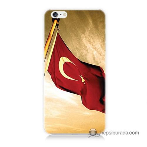 Teknomeg İphone 6 Plus Kılıf Kapak Türk Bayrağı Baskılı Silikon