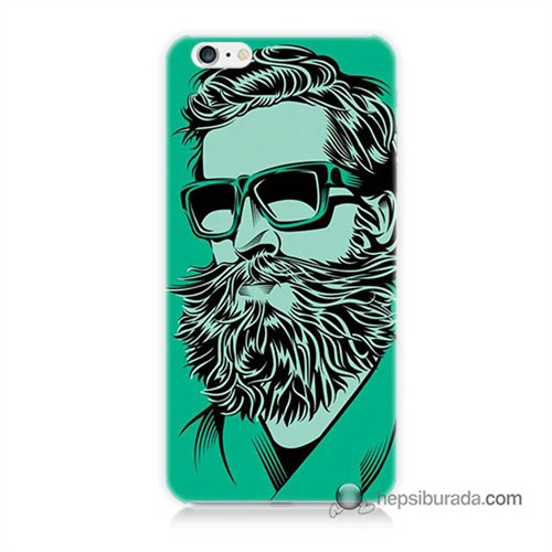 Teknomeg İphone 6S Plus Kılıf Kapak Beard Art Baskılı Silikon