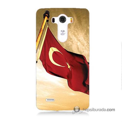 Teknomeg Lg G3 Kılıf Kapak Türk Bayrağı Baskılı Silikon