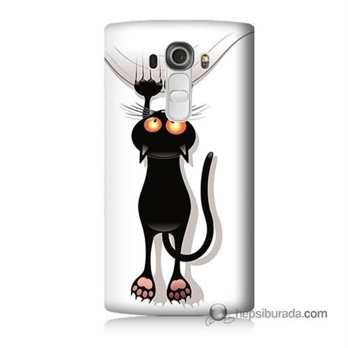 Teknomeg Lg G4 Beat Kılıf Kapak Kara Kedi Baskılı Silikon