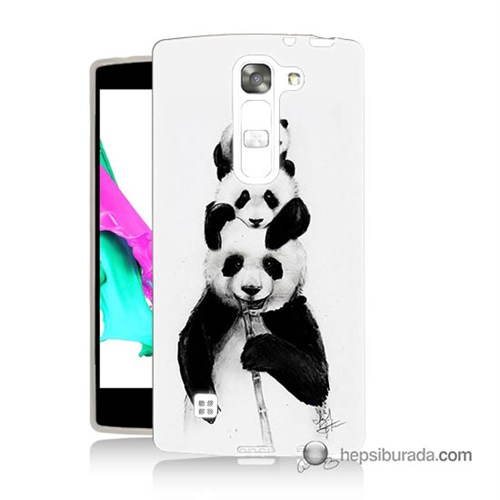 Teknomeg Lg G4c Kapak Kılıf Panda Ailesi Baskılı Silikon