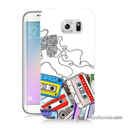 Teknomeg Samsung Galaxy S6 Edge Plus Kapak Kılıf Kasetler Baskılı Silikon