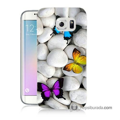 Teknomeg Samsung Galaxy S6 Edge Kılıf Kapak Kelebekler Baskılı Silikon