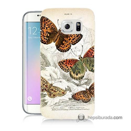 Teknomeg Samsung Galaxy S6 Edge Plus Kapak Kılıf Kelebekler Baskılı Silikon