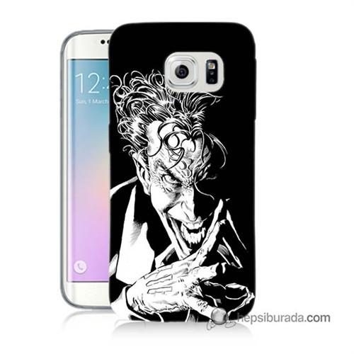 Teknomeg Samsung Galaxy S6 Edge Plus Kapak Kılıf Gülen Joker Baskılı Silikon