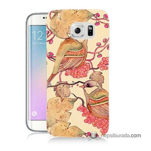 Teknomeg Samsung Galaxy S6 Edge Plus Kılıf Kapak Kuşlar Baskılı Silikon