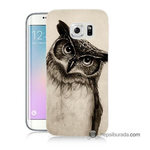 Teknomeg Samsung Galaxy S6 Edge Plus Kılıf Kapak Düşünen Baykuş Baskılı Silikon