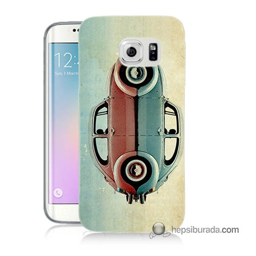 Teknomeg Samsung Galaxy S6 Edge Plus Kılıf Kapak Mavi Kırmızı Wolkswagen Baskılı Silikon