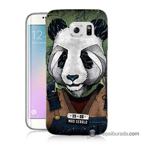 Teknomeg Samsung Galaxy S6 Edge Plus Kapak Kılıf İşçi Panda Baskılı Silikon