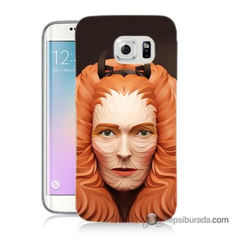 Teknomeg Samsung Galaxy S6 Edge Plus Kapak Kılıf Kabartma Kız Baskılı Silikon