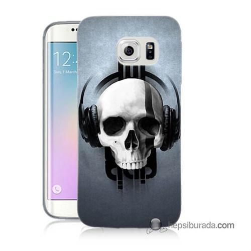 Teknomeg Samsung Galaxy S6 Edge Plus Kılıf Kapak Müzik Dinleyen Kurukafa Baskılı Silikon