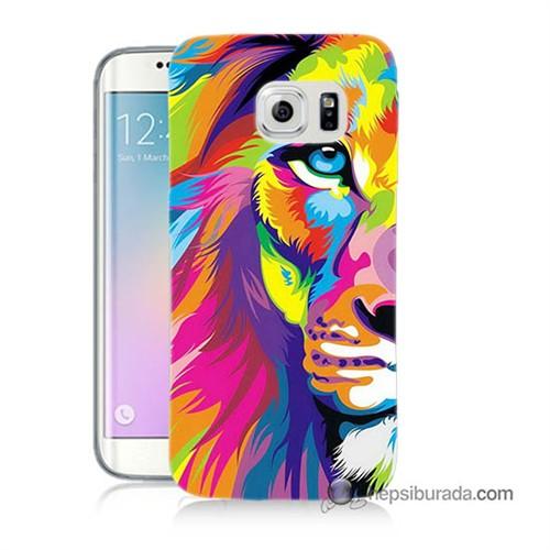 Teknomeg Samsung Galaxy S6 Edge Kılıf Kapak Renkli Aslan Baskılı Silikon