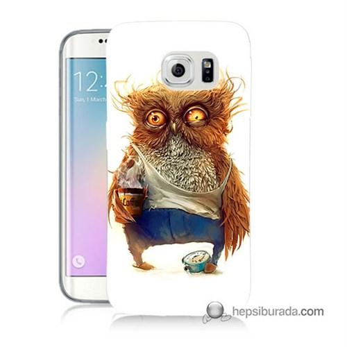 Teknomeg Samsung Galaxy S6 Edge Kapak Kılıf Miskin Baykuş Baskılı Silikon