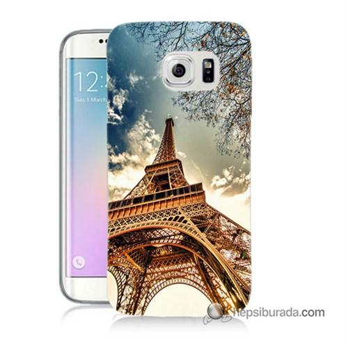 Teknomeg Samsung Galaxy S6 Edge Kapak Kılıf Eyfel Kulesi Baskılı Silikon