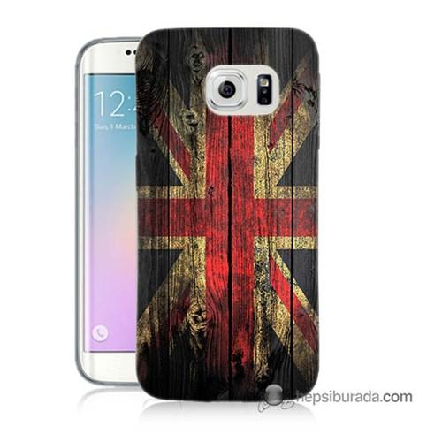 Teknomeg Samsung Galaxy S6 Edge Kapak Kılıf İngiliz Bayrağı Baskılı Silikon
