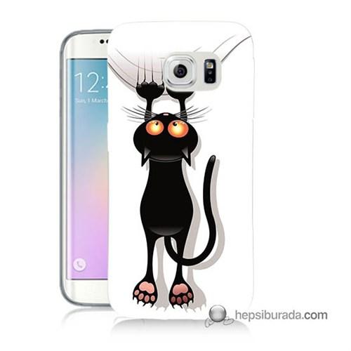 Teknomeg Samsung Galaxy S6 Edge Kılıf Kapak Kara Kedi Baskılı Silikon