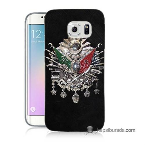 Teknomeg Samsung Galaxy S6 Edge Kapak Kılıf Osmanlı Baskılı Silikon