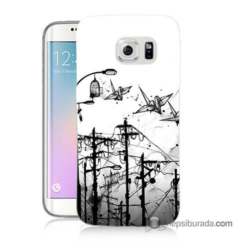 Teknomeg Samsung Galaxy S6 Edge Kapak Kılıf Origami Baskılı Silikon