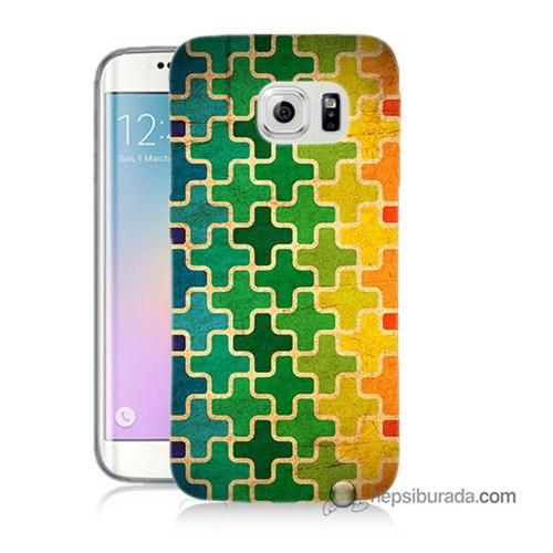 Teknomeg Samsung Galaxy S6 Edge Kapak Kılıf Renkli Artı Baskılı Silikon