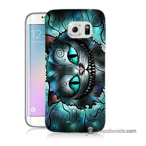 Teknomeg Samsung Galaxy S6 Edge Kapak Kılıf Alice Kedi Baskılı Silikon