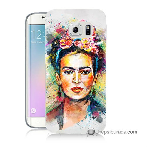 Teknomeg Samsung Galaxy S6 Edge Kapak Kılıf Frida Baskılı Silikon