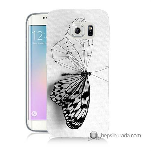 Teknomeg Samsung Galaxy S6 Edge Kapak Kılıf Kanatsız Kelebek Baskılı Silikon