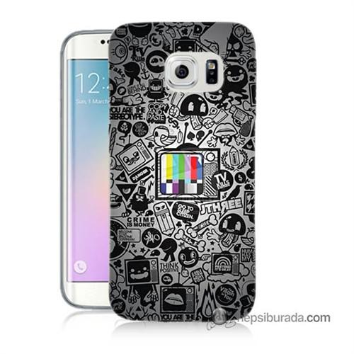 Teknomeg Samsung Galaxy S6 Edge Kapak Kılıf Renkli Tv Baskılı Silikon