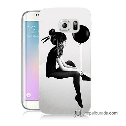 Teknomeg Samsung Galaxy S6 Edge Kapak Kılıf Balonlu Kız Baskılı Silikon