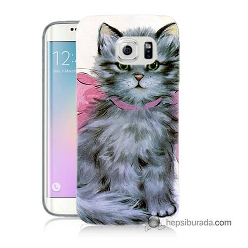 Teknomeg Samsung Galaxy S6 Edge Kılıf Kapak Papyonlu Kedi Baskılı Silikon