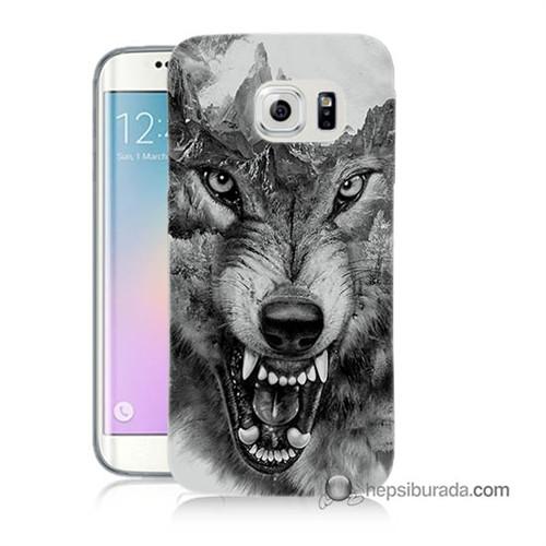 Teknomeg Samsung Galaxy S6 Edge Kapak Kılıf Kızgın Kurt Baskılı Silikon