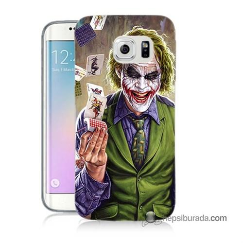 Teknomeg Samsung Galaxy S6 Edge Kılıf Kapak Kartlı Joker Baskılı Silikon