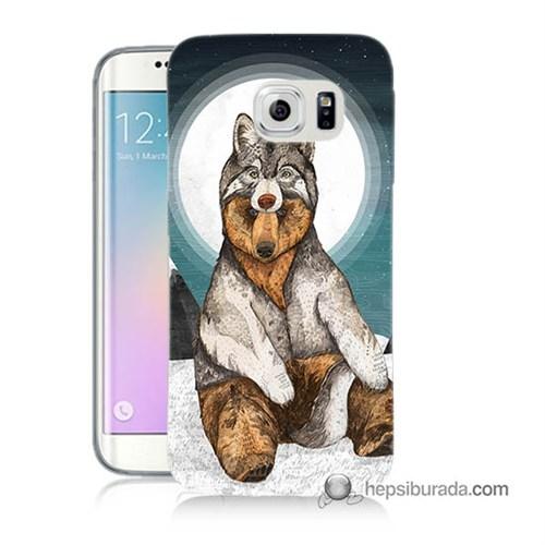 Teknomeg Samsung Galaxy S6 Edge Kapak Kılıf Postlu Ayı Baskılı Silikon