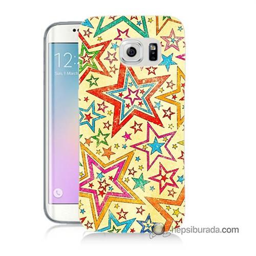 Teknomeg Samsung Galaxy S6 Edge Kılıf Kapak Yıldızlar Baskılı Silikon