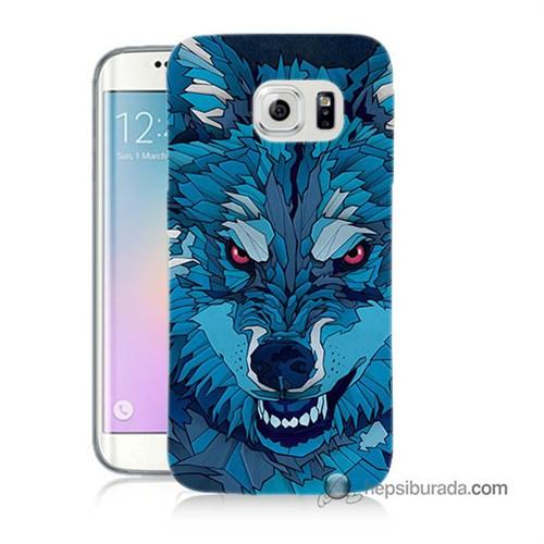 Teknomeg Samsung Galaxy S6 Edge Kılıf Kapak Mavi Kurt Baskılı Silikon
