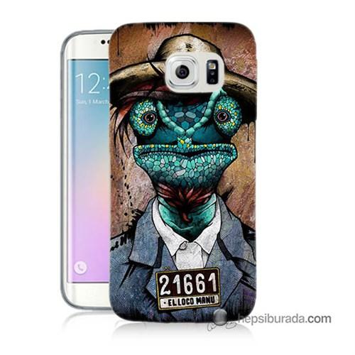 Teknomeg Samsung Galaxy S6 Edge Kılıf Kapak İguana Adam Baskılı Silikon