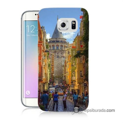 Teknomeg Samsung Galaxy S6 Edge Kapak Kılıf Galata Kulesi Baskılı Silikon