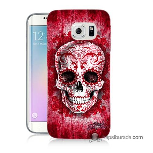 Teknomeg Samsung Galaxy S6 Edge Kılıf Kapak Kırmızı İskelet Baskılı Silikon