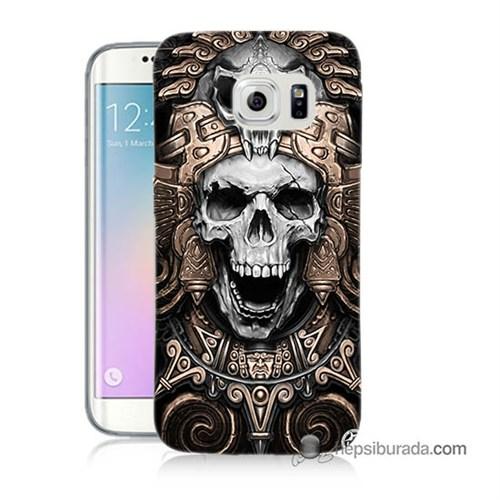 Teknomeg Samsung Galaxy S6 Edge Kılıf Kapak Kafatası Krallığı Baskılı Silikon
