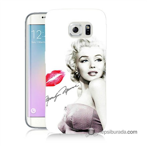 Teknomeg Samsung Galaxy S6 Edge Kapak Kılıf Marilyn Monroe Baskılı Silikon