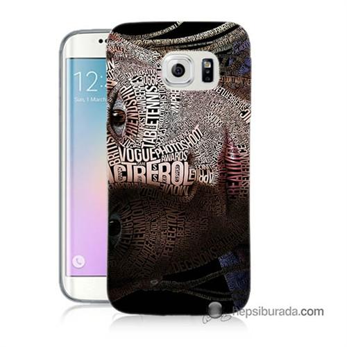 Teknomeg Samsung Galaxy S6 Edge Kılıf Kapak Yazılı Kadın Baskılı Silikon